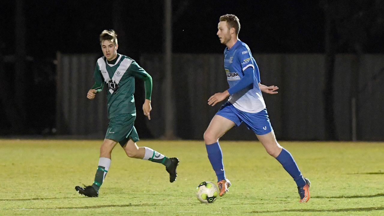 FOOTBALL CQ PREMIER LEAGUE: Bluebirds' Liam McLean with the ball