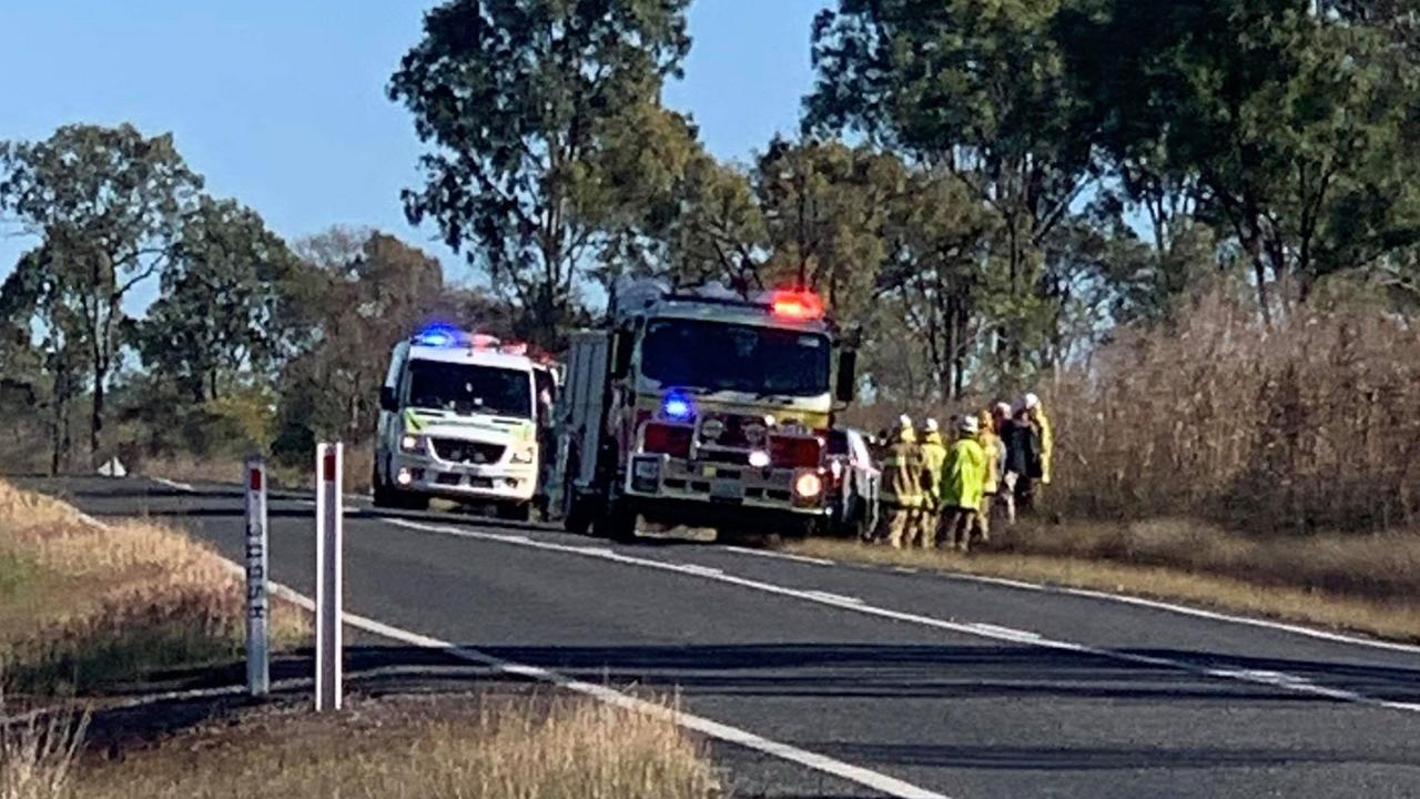 BURNETT HIGHWAY CRASH: Emergency crews rushed to the scene of a reported vehicle rollover this morning. Picture: Sam Turner