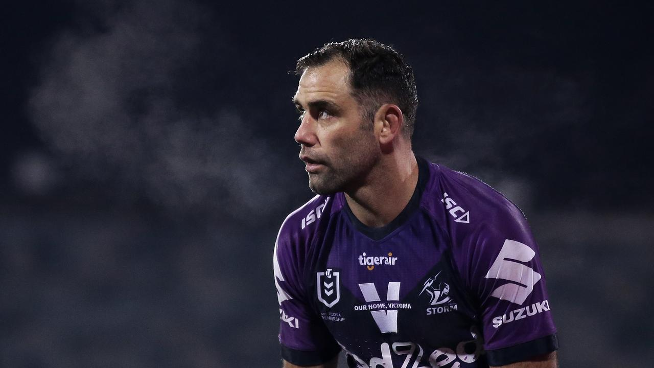 Cameron Smith of the Storm looks on during the round nine NRL match between the Canberra Raiders and the Melbourne Storm at GIO Stadium on July 11, 2020 in Canberra, Australia. (Photo by Matt King/Getty Images)