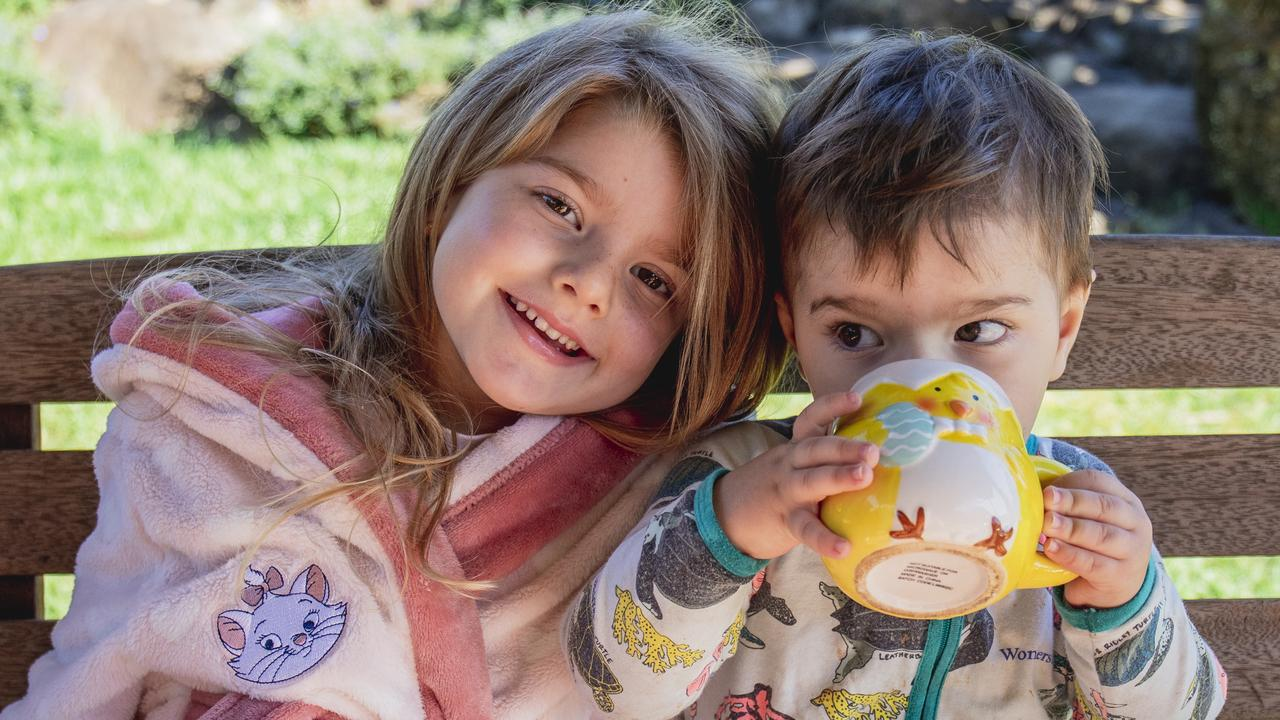Paige Fitzgerald and younger brother Jack Fitzgerald rugged up at The Leap. Picture: Casey Fitzgerald.