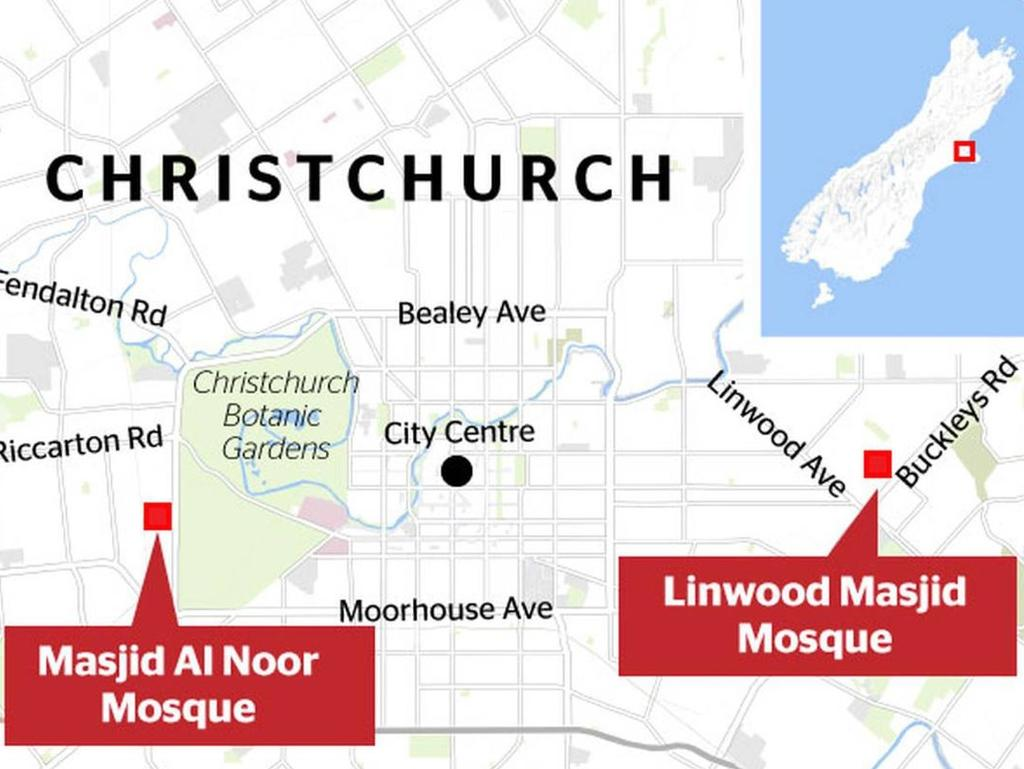 Tarrant hit the Al Noor mosque at 1.40pm and then the Linwood mosque at 1.52pm and Christchurch mosque shooting location map. Picture: NZ Herald