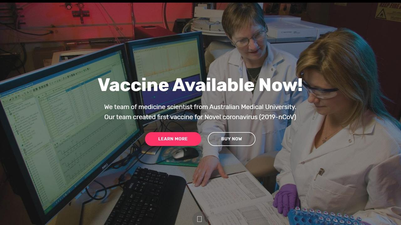 A fake website claiming to sell a non-existent COVID-19 vaccine. Picture: ACCC