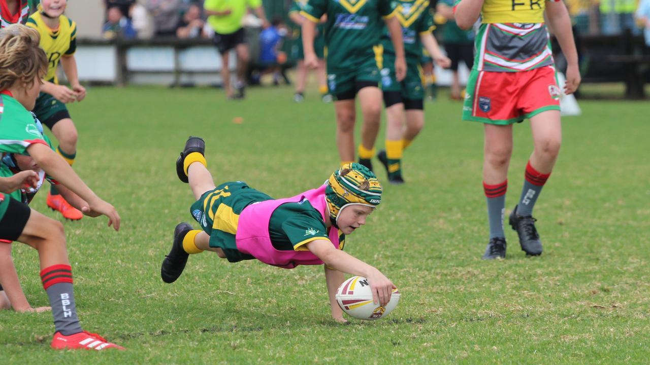 Cudgen Junior Rugby League's Noah Slockee making a dive. Photo: Peta Thierjung
