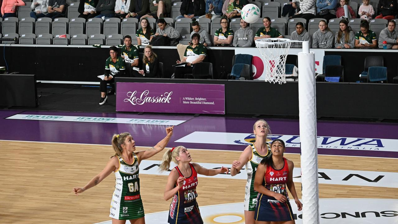 USQ Ipswich Jets and Wildcats netballers wait to see if the shot is successful during their Rd 2 Sapphire Series match. The Jets won 56-45. Picture: Ipswich Jets Media