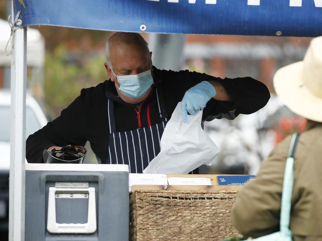 People attend the farmer's market in Coburg over the weekend. Picture: Daniel Pockett/NCA NewsWire