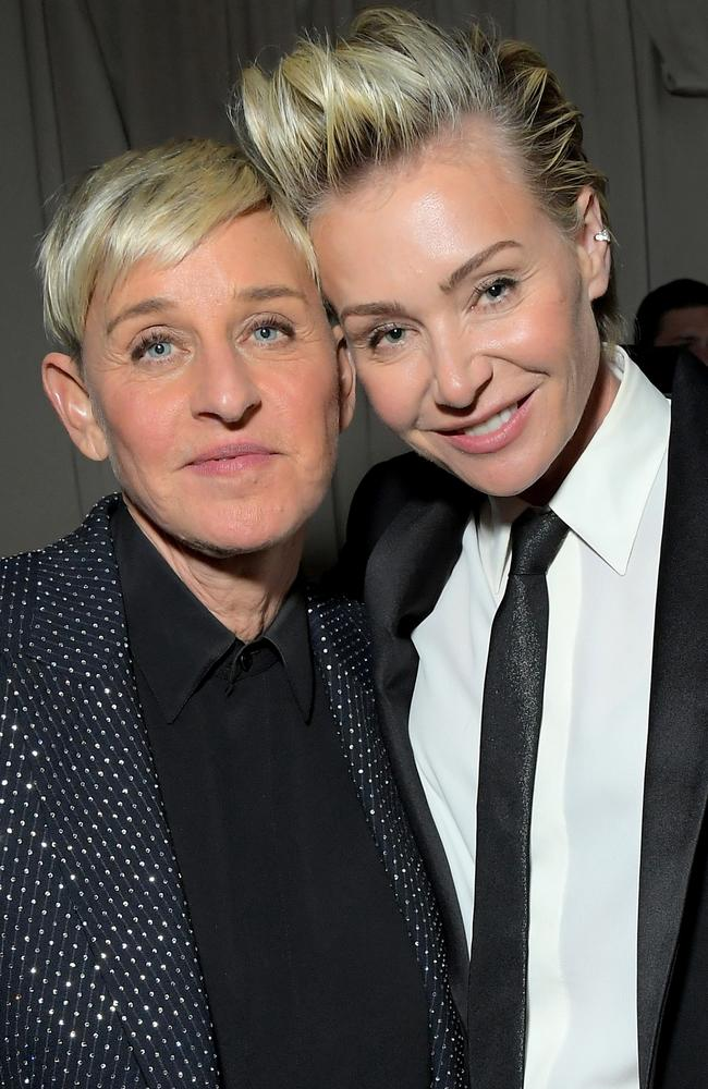 Ellen DeGeneres and wife Portia de Rossi. Picture: Getty Images.