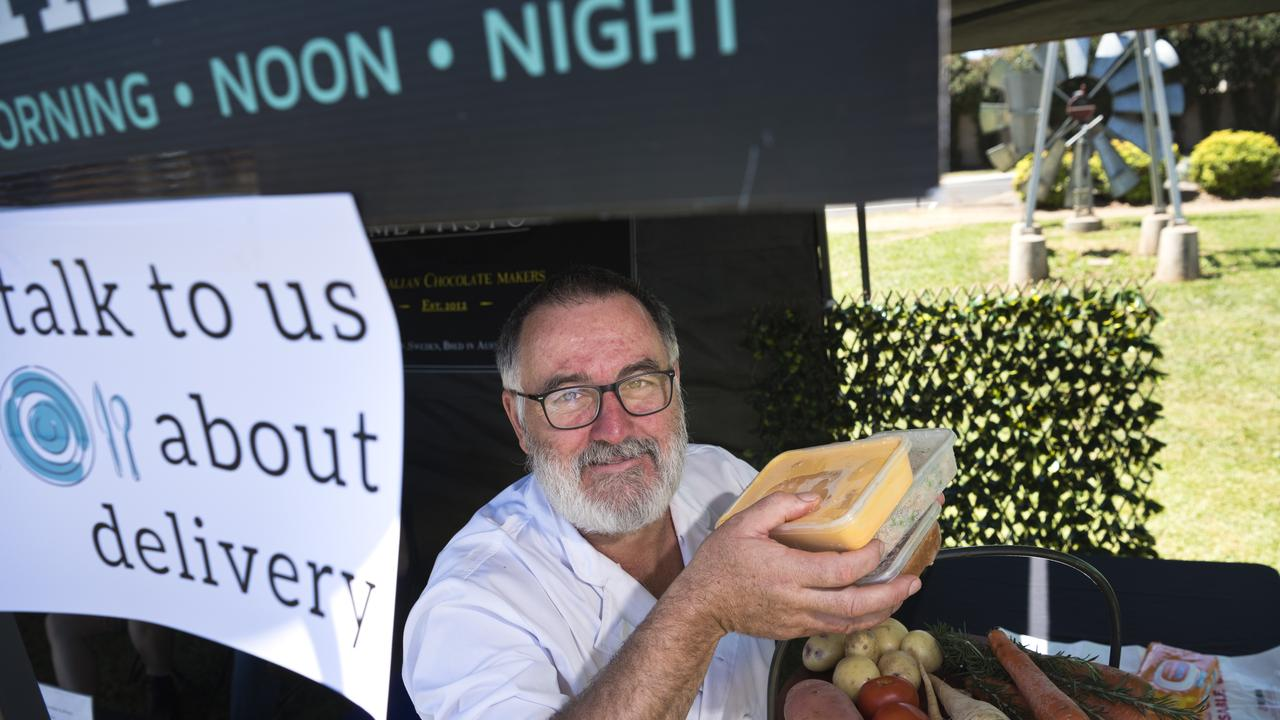 David Wood of Charred with frozen meals at The Toowoomba Farmers Market. The restaurant has moved to offering takeaway meals after coronavirus fears impact trade, Saturday, March 21, 2020. Picture: Kevin Farmer