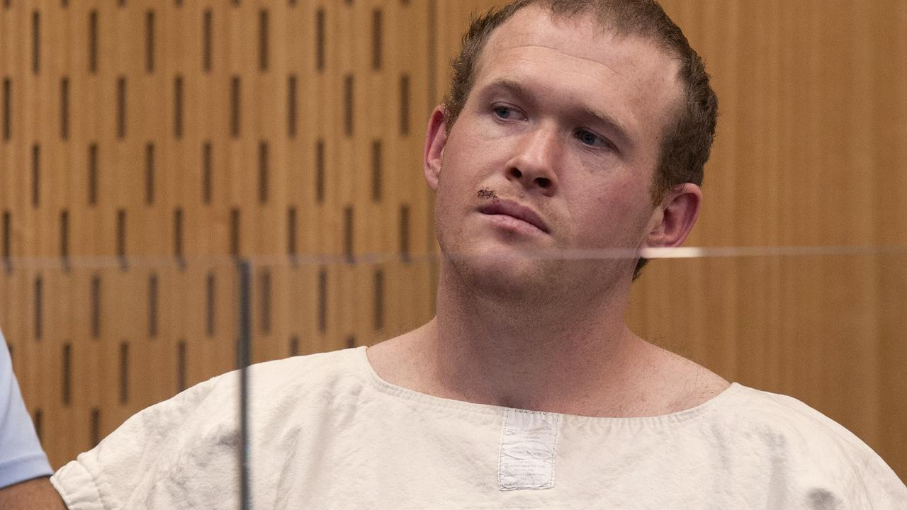 A bulked-up Brenton Tarrant, in his prison smock, in court the day after his murderous rampage in two Christchurch mosques. Picture: Mark Mitchell/AP