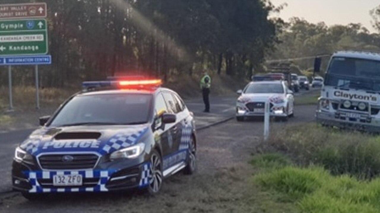 Kandanga crash last week where traffic was blocked on the Mary Valley Highway near the Kandanga turn-off.