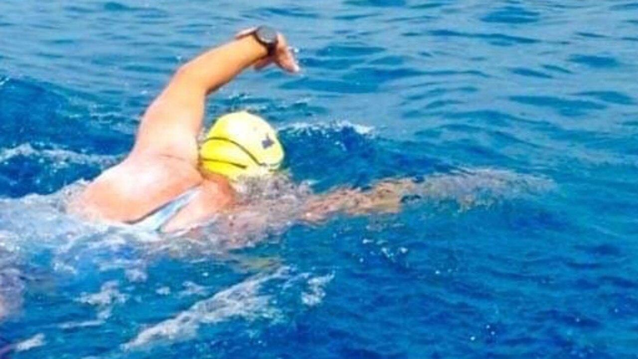 Hervey Bay's Lars Olsen completing the 20km swim around Great Keppel Island.