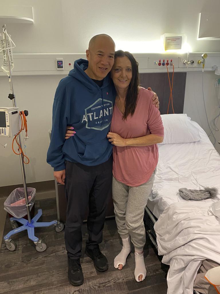 Jayne Brown and Dr Charlie Teo in hospital.