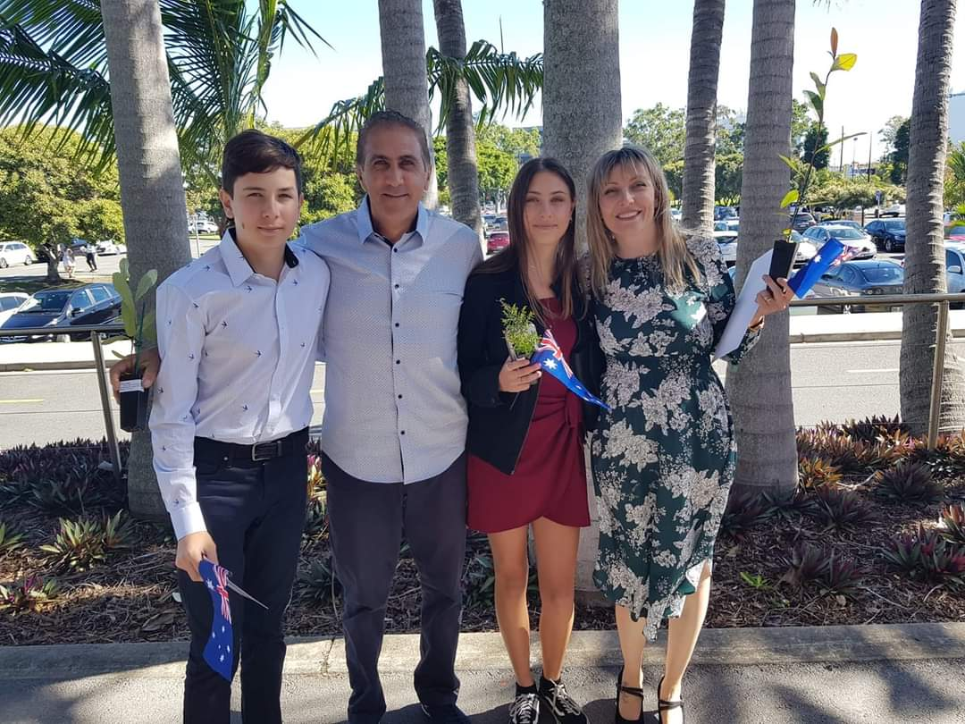 The family at their Australian Citizenship Ceremony.