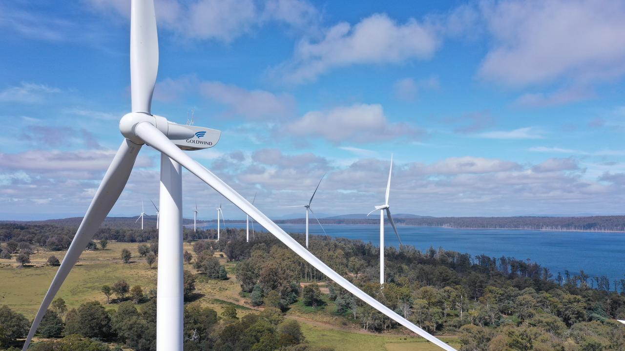 A Goldwind turbine installed at Cattle Hill wind farm in Tasmania.