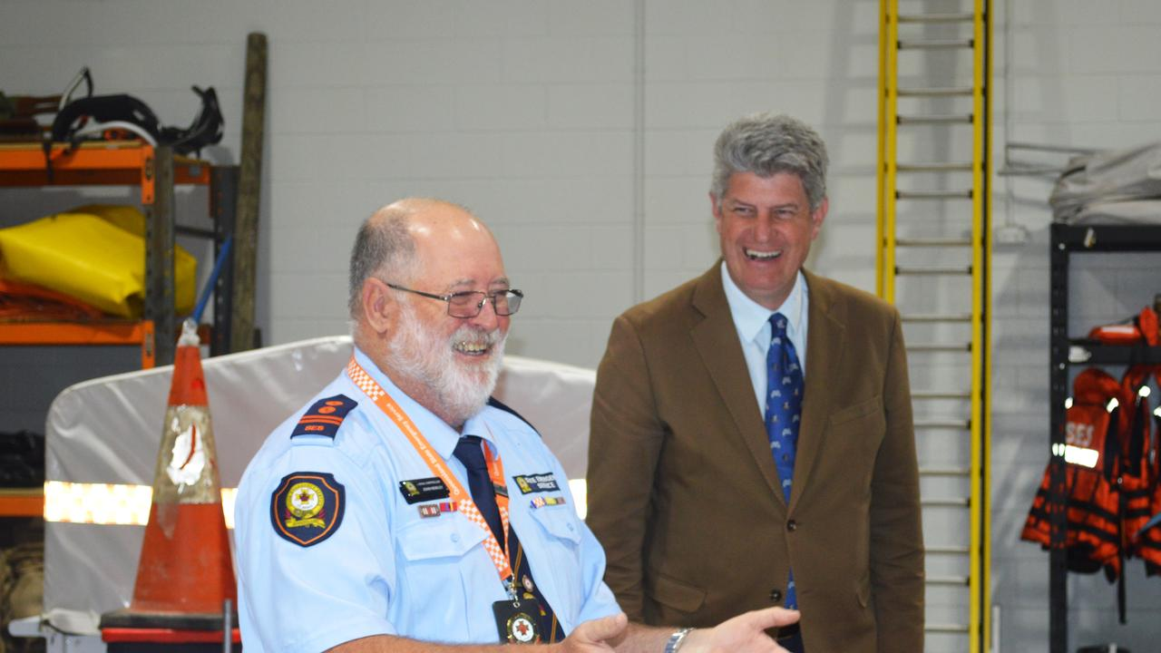 Warwick SES controller John Newley with Minister for Local Government, Racing and Multicultural Affairs Stirling Hinchliffe. Picture: Tessa Flemming