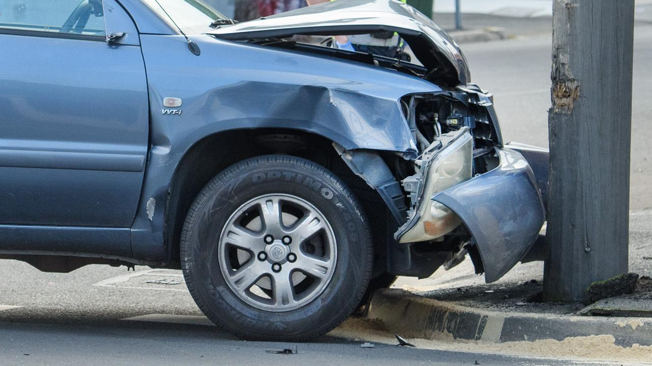 A vehicle has collided into a light pole in North Rockhampton.