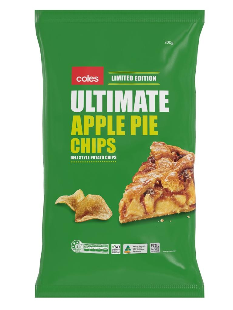 There's also an 'Ultimate Apple Pie' flavoured bag of chips. Picture: Coles