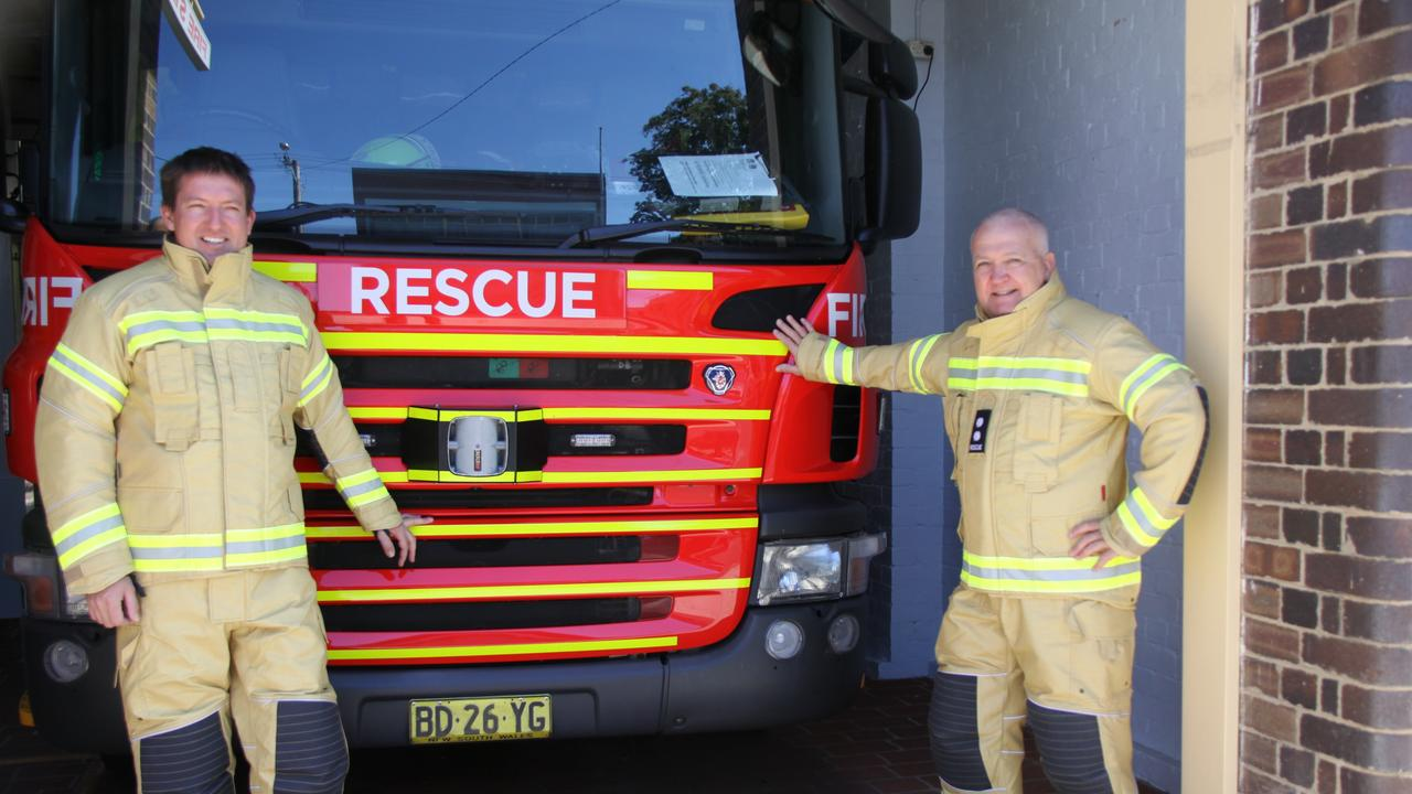TOP GEAR: Fire & Rescue NSW Lismore Leading Firefighter Adam Cormick and Station Officer Grimwood AFSM wearing their new structural firefighting uniforms. Photo: Alison Paterson