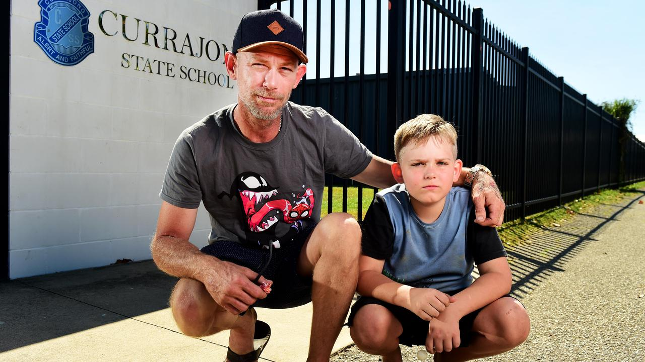 Johnathon Shepherd's son Jaice 10, was assaulted by a student from another school who entered the Currajong State School grounds illegally. Picture: Alix Sweeney