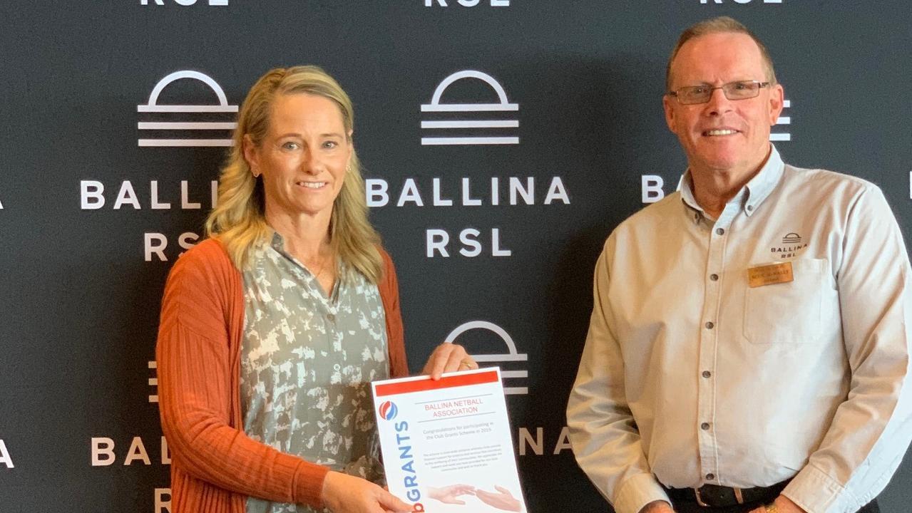 Julie Davies, president of the Ballina Netball Association and chairman of the Ballina RSL Club Blue McNally.