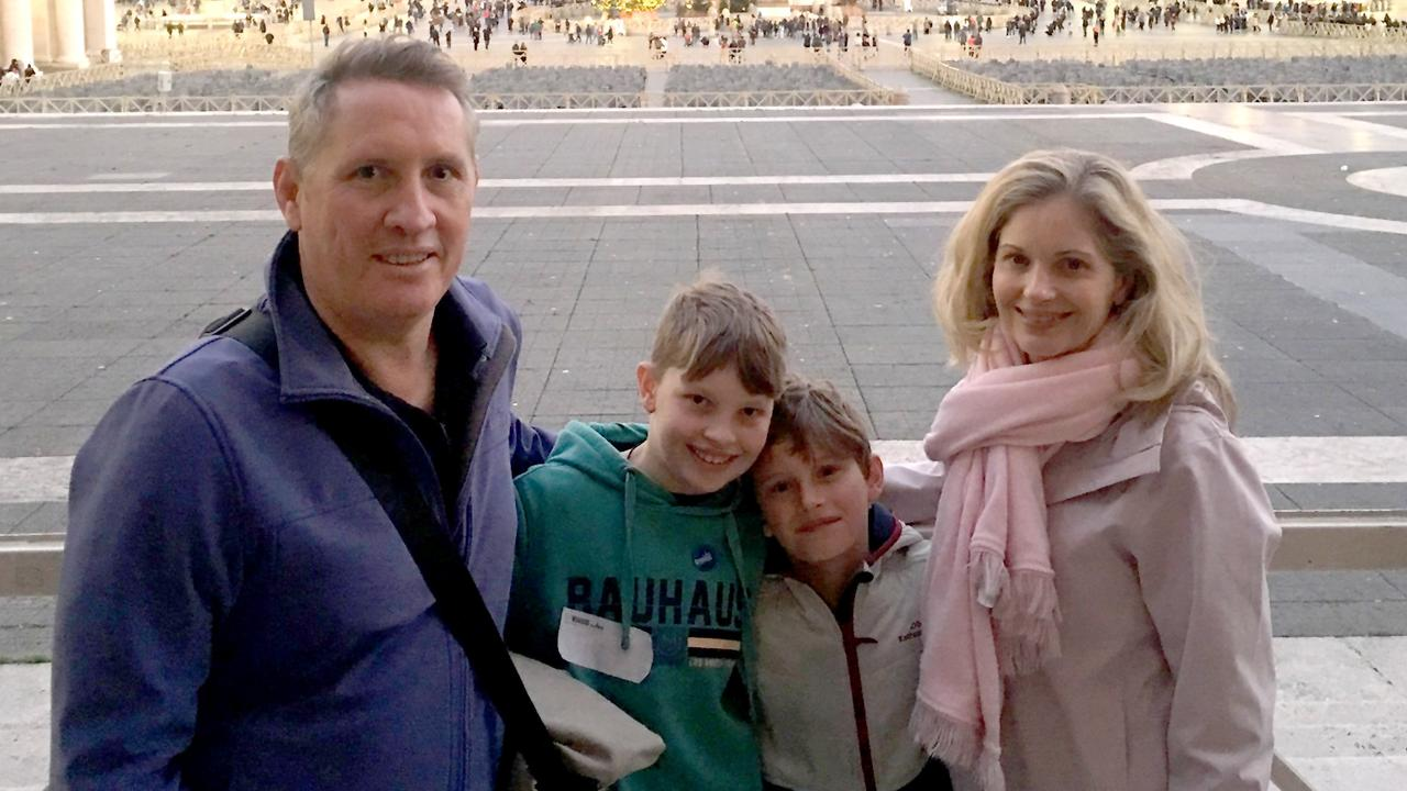 Wes Burrows, partner Jane Mills with their children Finn and Oliver on a family holiday in Italy in December 2019. Photo: Facebook