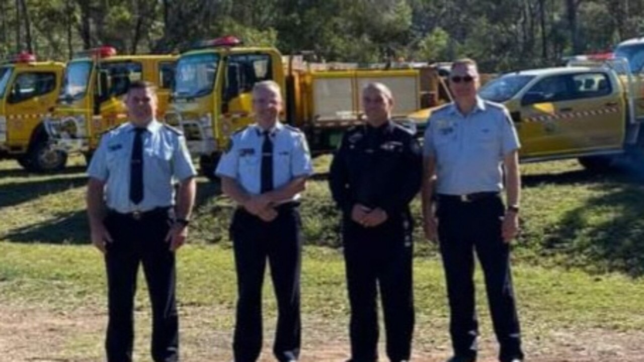 Area Director Craig Magick, Assistance Commissioner John Bolger from Brisbane, Assistance Commissioner Darryl King from Rockhampton and Regional Manager Rural Operations Brian Smith at the establishment of the new Eurimbula Rural Fire Brigade.