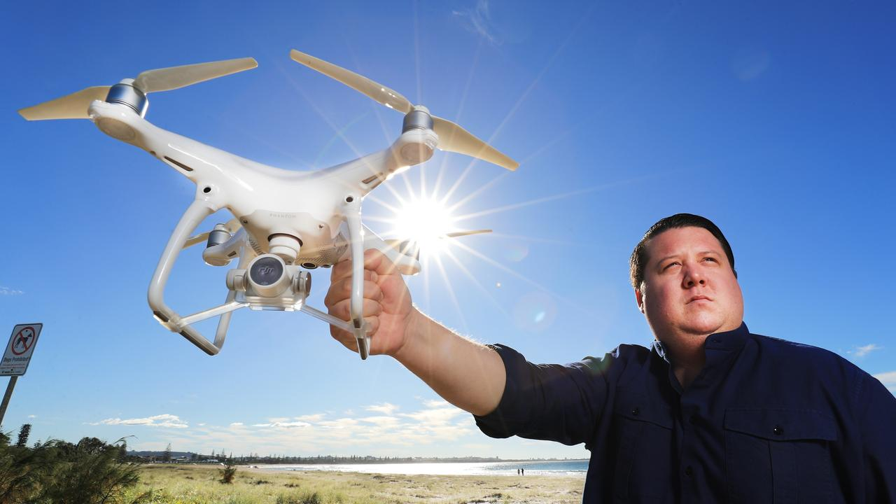 Tweed Shire Councillor Reece Byrnes with a drone camera unit at Kingscliff. Photo: Scott Powick, News Corp