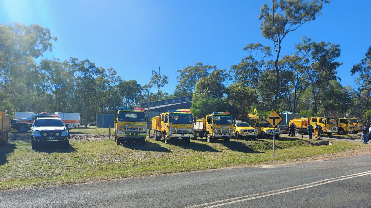 Trucks at the establishment of the new Eurimbula Rural Fire Brigade.