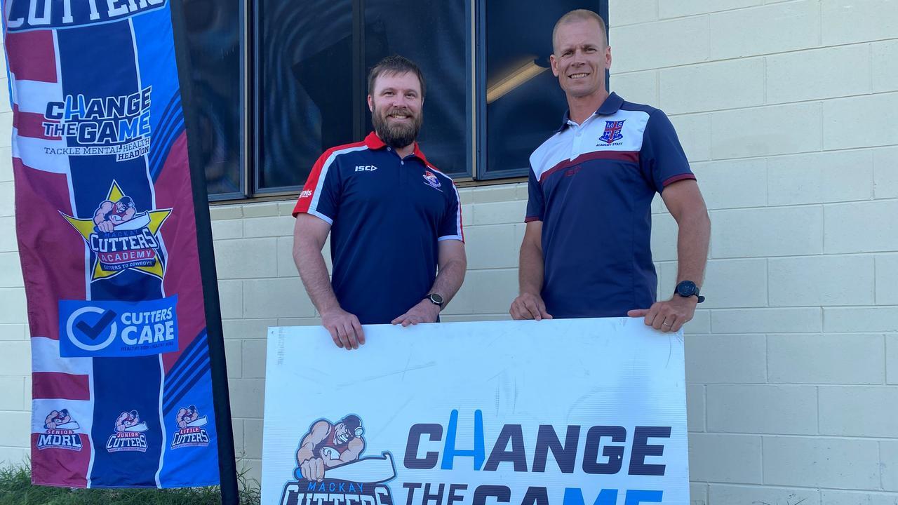 St Patrick's College coach Chad Buckby (left) and Mackay State High School coach Rowan Graham. Photo: Callum Dick