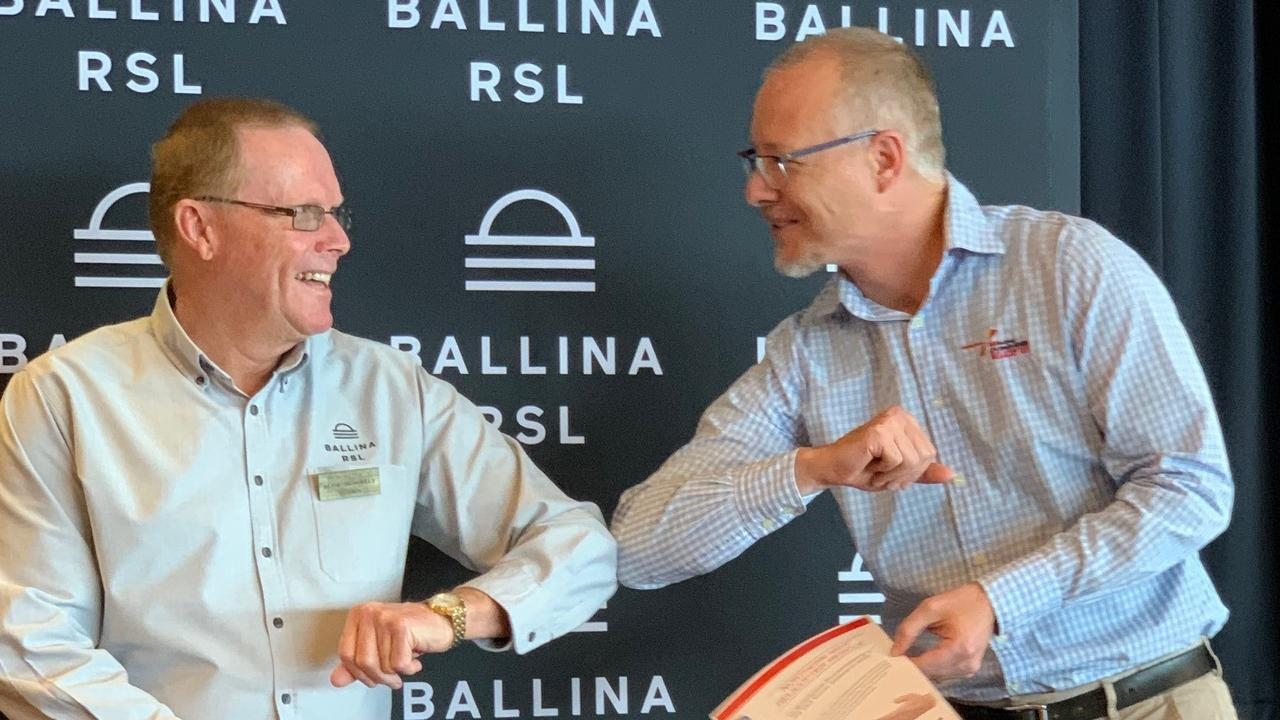 Chairman of the Ballina RSL Club, Blue McNally, with Zeke Huish from the Westpac Life Saver Rescue Helicopter.