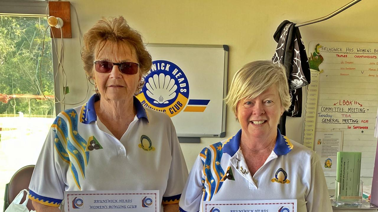 PAIRS CHAMPS: Brunswick Head Ladies Bowls Club Pairs Champions Sherril Pearce (L), Jenny Andrew (R) won on a fast green caused by icy winds followed by hot sunshine.