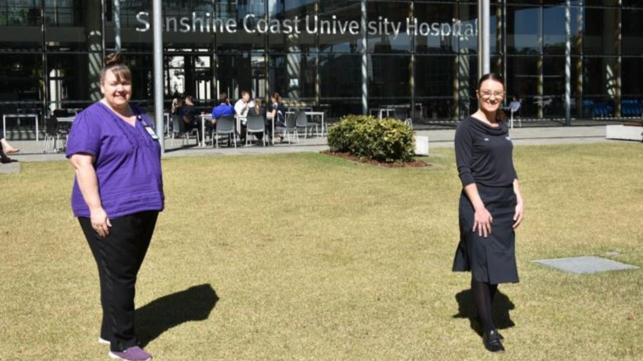 FRONTLINE HERO: Sunshine Coast Hospital and Health Service nurses Katryna Taylor and Kelly Micallef are back at work after a stint in Melbourne helping fight COVID-19. Picture: Supplied