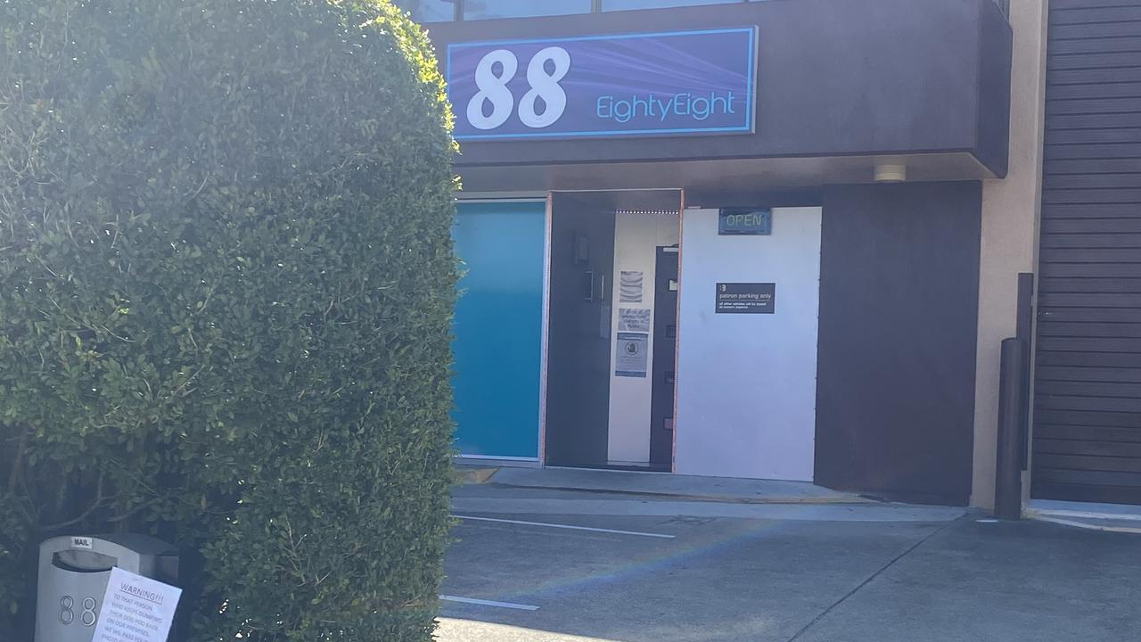 Signs placed outside 88 on Logan and Eves Kiss adult store.