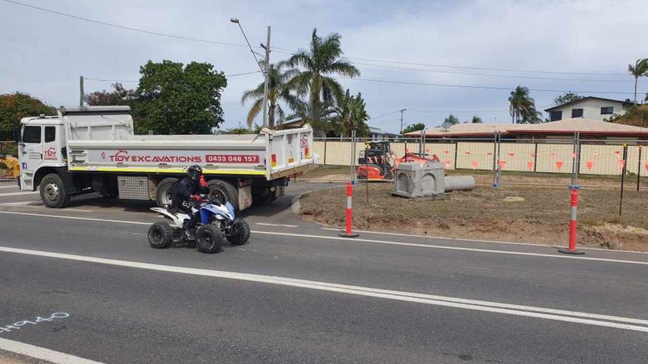A person rides an unregistered and uninsured quad bike through the Philip Street roadworks recently.
