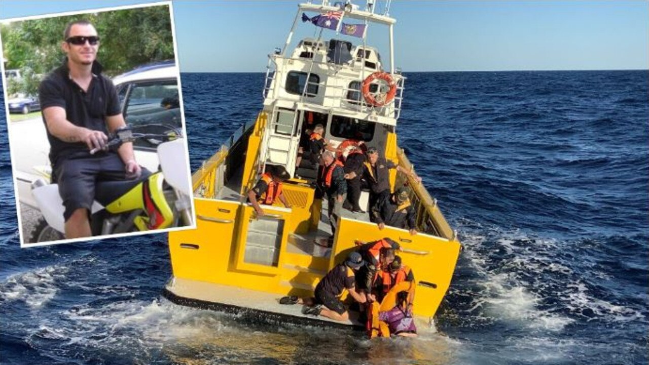 Daniel Mallon and his son-in-law Eastyn Collier are lucky to be alive after their boat sunk 30 kilometres offshore Mooloolaba.