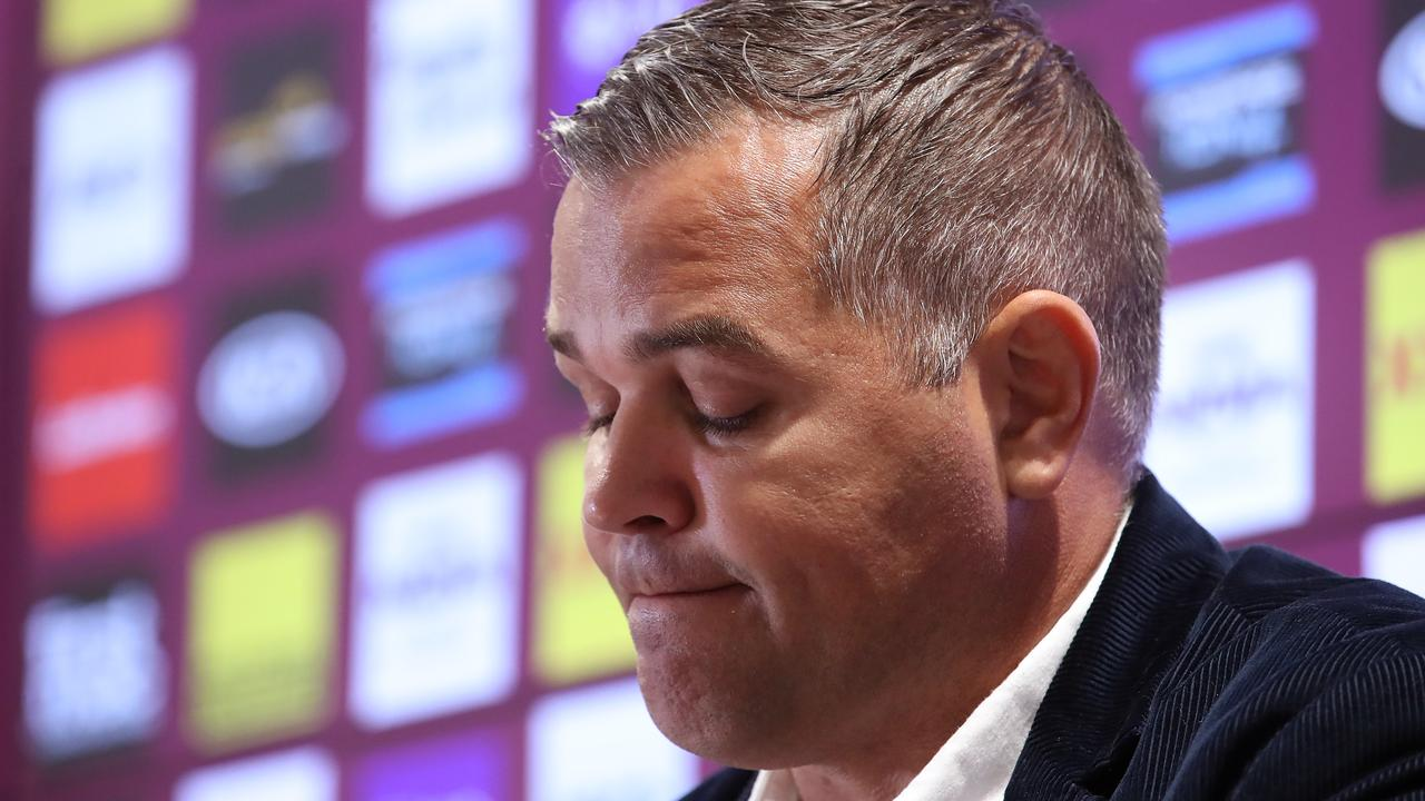 Broncos coach Anthony Seibold speaks to the media after announcing he will be stepping down from the club. Picture: Jono Searle/Getty Images