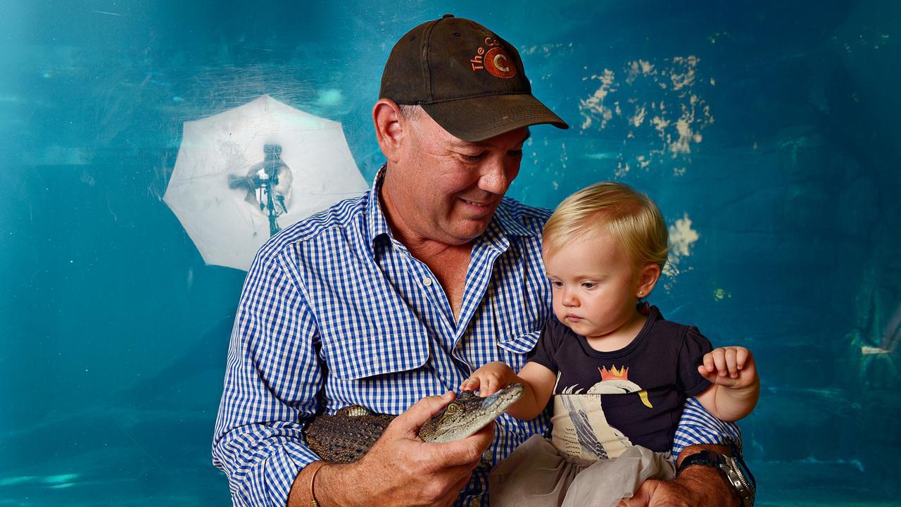 Mick Burns with daughter Arley Rey Burns at Crocosaurus Cove.