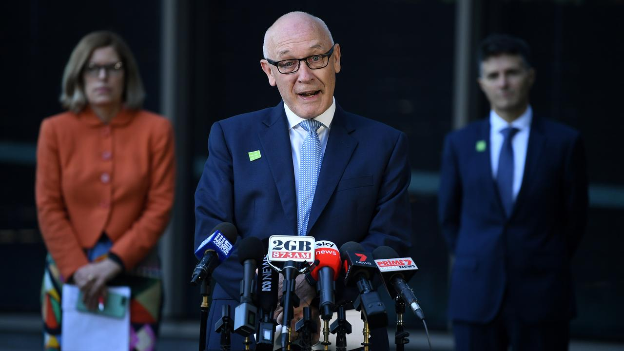 NSW Minister Finance and Small Business Damien Tudehope speaks to the media during a press conference in Sydney, Wednesday, April 15, 2020. (AAP Image/Joel Carrett)
