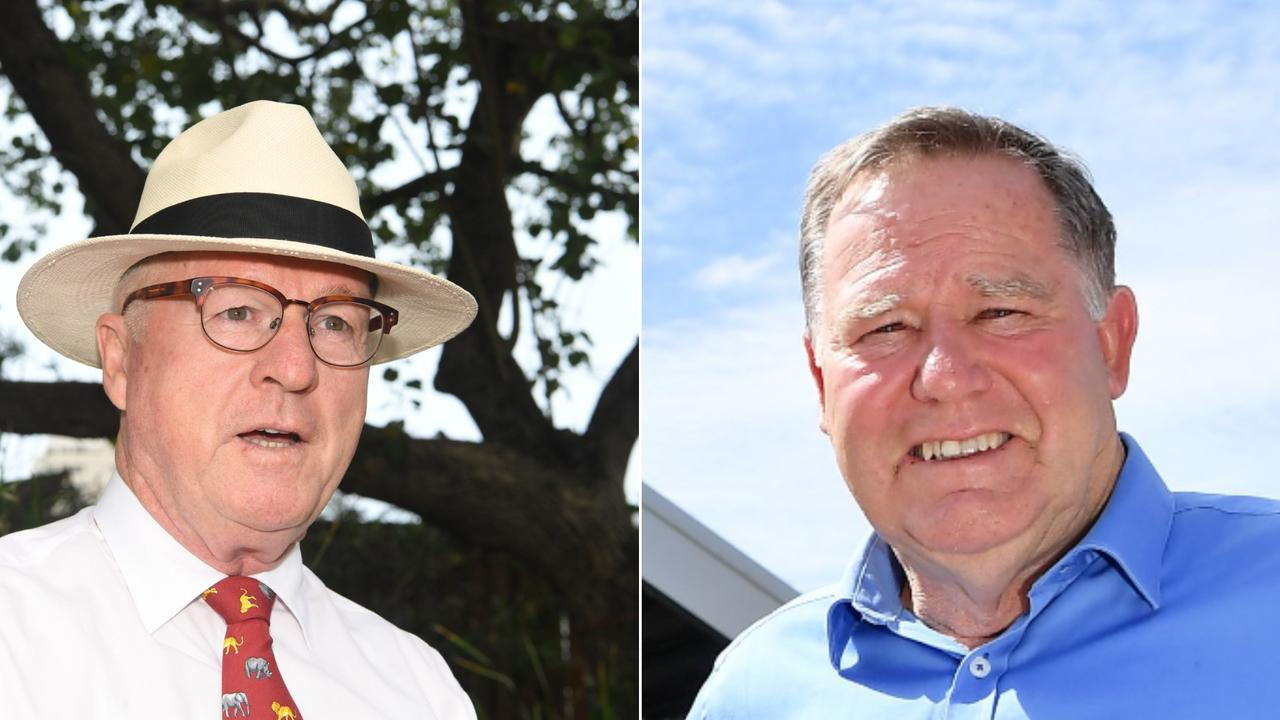 REPORT: Former Councillor Greg Rogerson, right, has called for a report into allegations of bullying to be released to the public as much as possible. Mayor Mark Jamieson, left, says it may not be able to be released due to public interest disclosure laws.