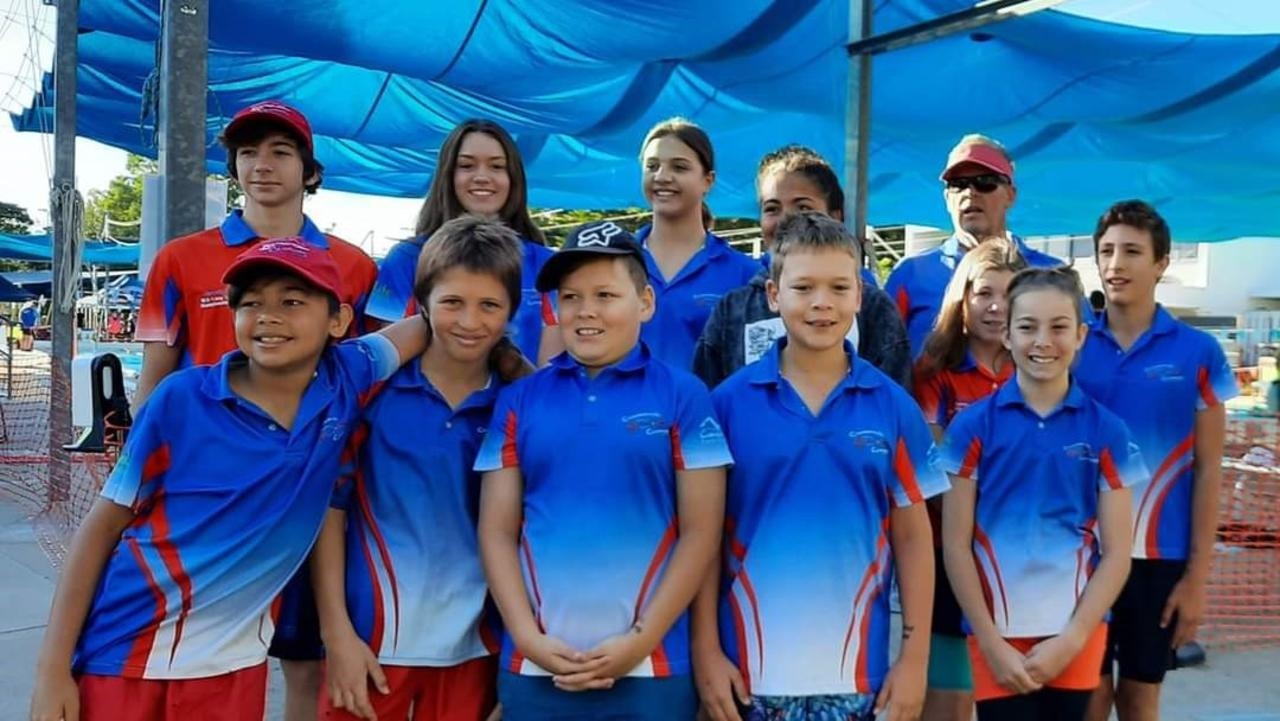 The Cannonvale Cannons travelled to Townsville for the first meet of the season last weekend. Pictured are (back, from left) Jacob Bell, Ella Harland, Holly Perrin, Lilli Bond, coach Ken Crittenden, Remy Hedges, Mitchell Milostic, (front) Olli Bond, Jai Dennison, Mason Harland, Tate Harland and Tiana Bell. Photo: Contributed