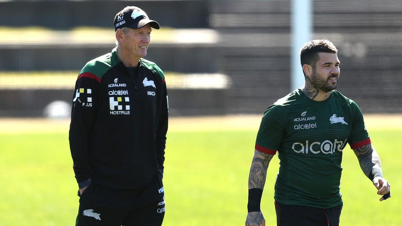 Wayne Bennett with Adam Reynolds at Rabbitohs training.