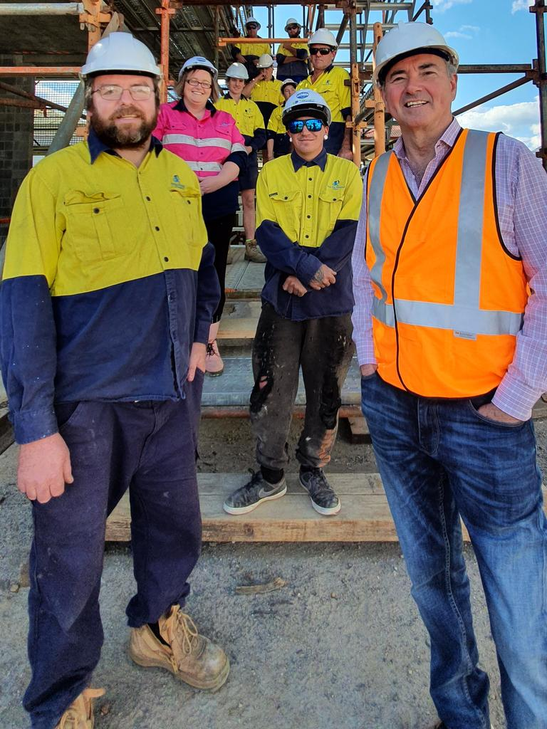 Member for Clarence Chris Gulaptis (right) with Grafton plumber Peter Quiring, his wife Terry and their team from Pete The Plumber who are currently working on the $7.6 million Grafton Regional Gallery project.