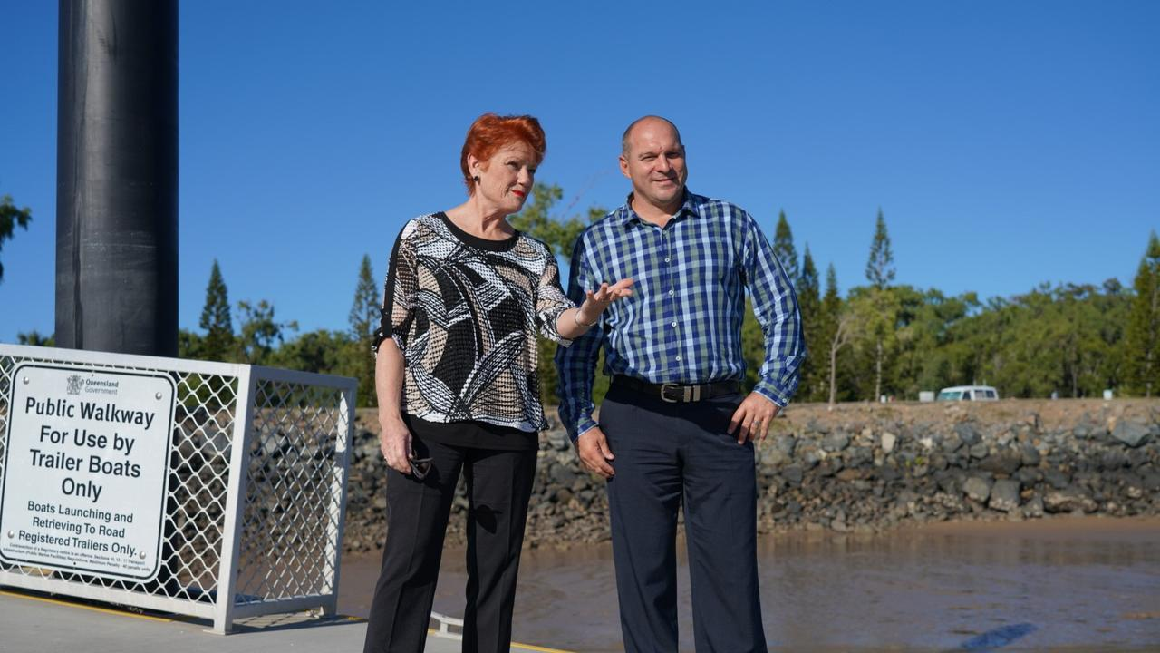 Queensland Senator and One Nation leader Pauline Hanson with One Nation candidate for Keppel Wade Rothery are outspoken in their support of the coal industry.