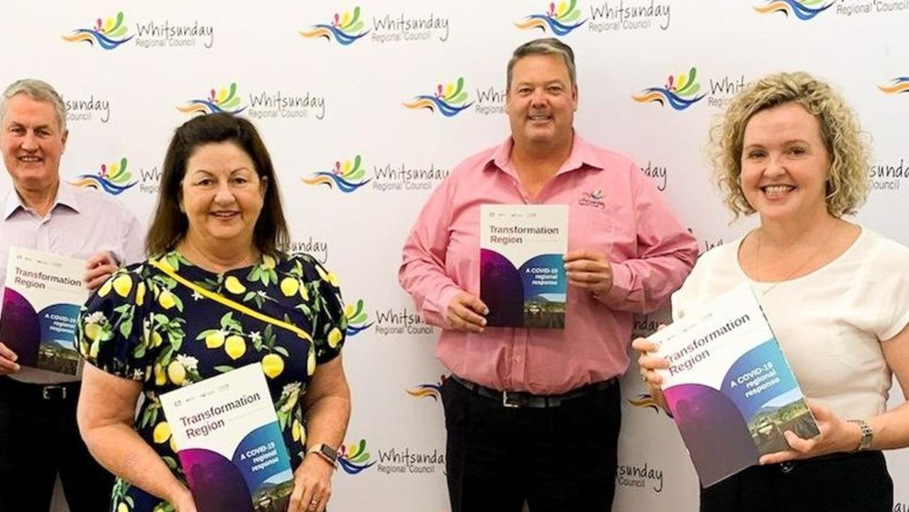 Mackay Mayor Greg Williamson with Isaac Mayor Anne Baker, Whitsunday Mayor Andrew Willcox and Greater Whitsunday Alliance chief executive Kylie Porter.