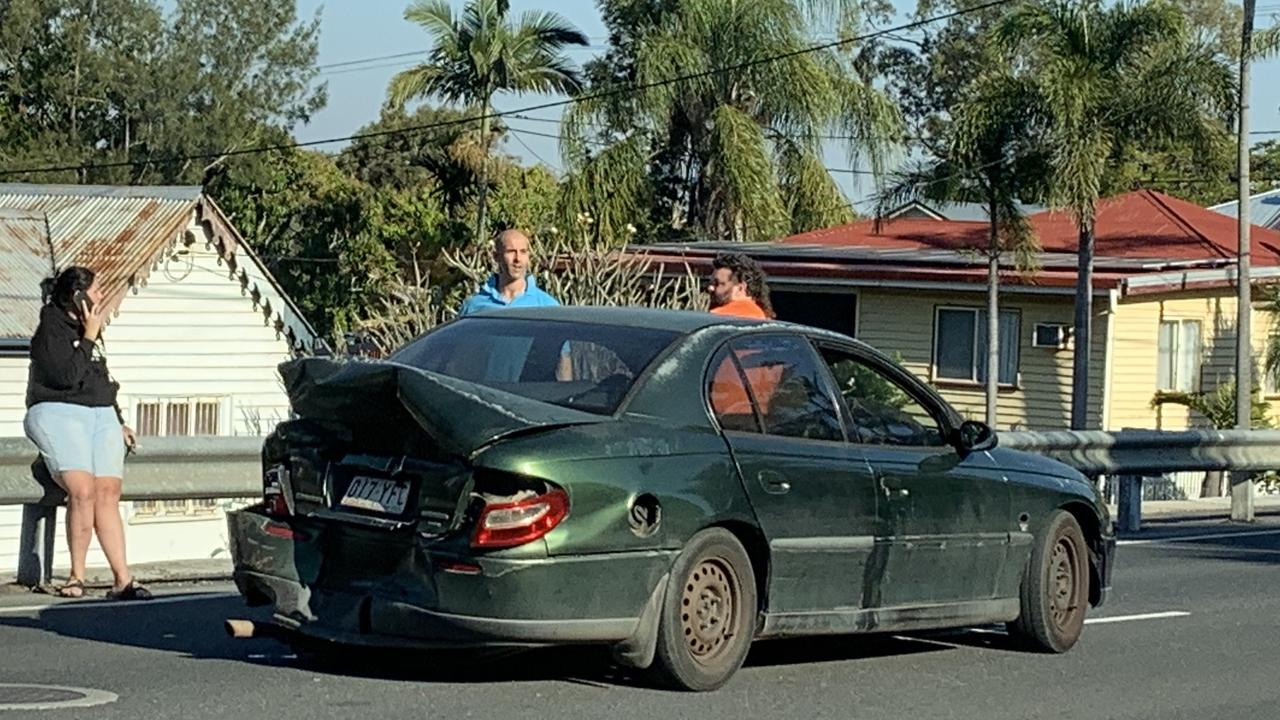 A vehicle sustained serious damage in the collision.