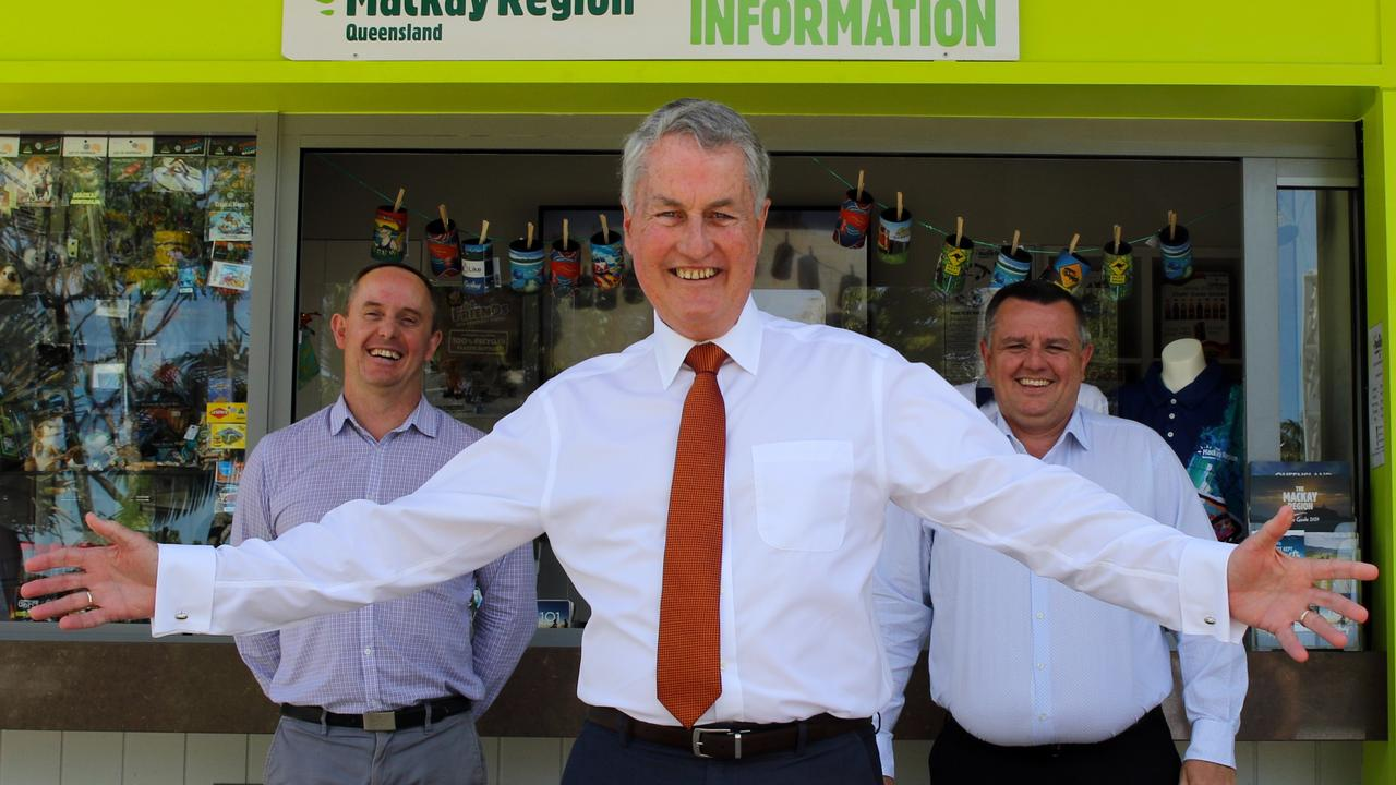 Mackay Tourism's Tas Webber, Mayor Greg Williamson and Mackay Airport general manager Garry Porter excited to open the new Mackay Visitor Information Kiosk. Picture: Supplied/ Mackay Regional Council