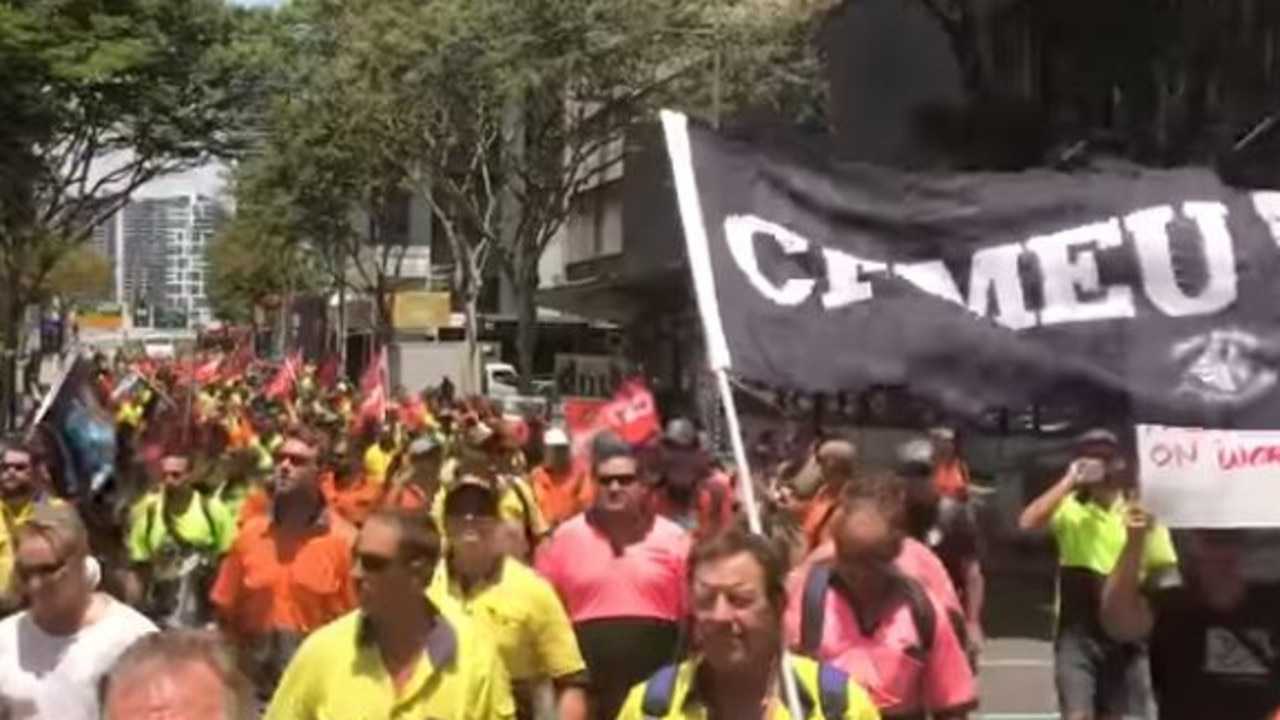 CFMEU rally in Brisbane's CBD.