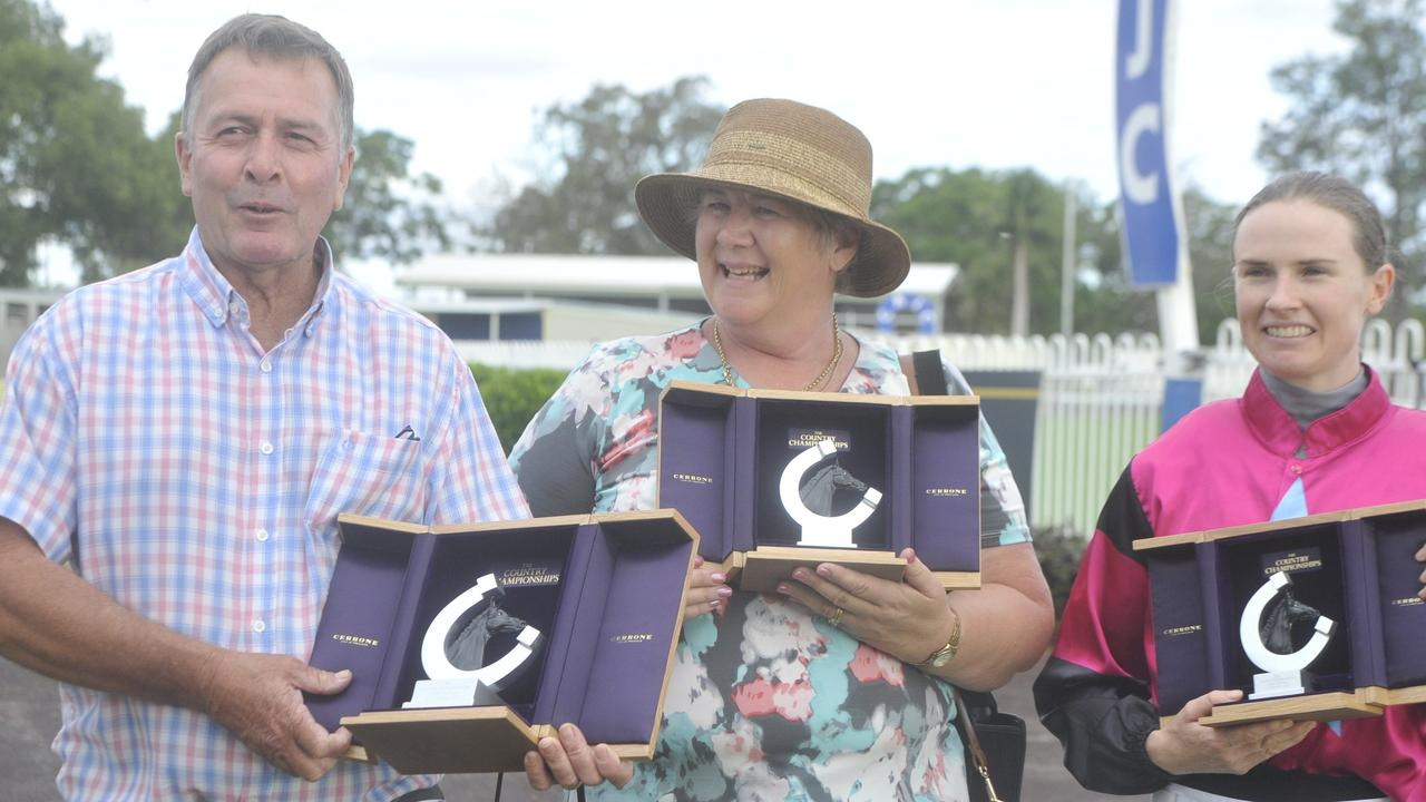 Rachel Murray and Warren Gavenlock with Plonka at the Country Championships qualifying heat moved from Coffs Harbour to Grafton's Clarence River Jockey Club on Thursday, February 20.