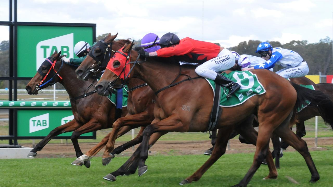 Sienna's Choice, ridden by James Orman, holds on in a nose by nose finish at Ipswich racetrack today. Picture: Claire Power