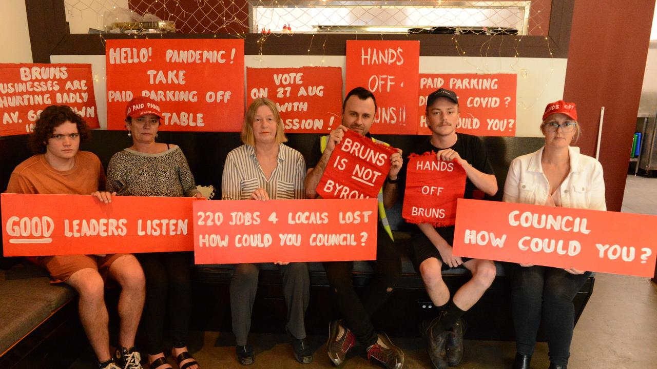 Breock and Cherie Heale, Kim Rosen, Happy Dolphin cafe owner Gary Deller, Nathan Kidman from Hoopers and Sam Pedlow from North Coast Lifestyle Properties. The group is opposing the rescission motion to bring a decision on paid parking in Brunswick Heads forward to this October. The rescission will go before Byron Shire Council on Thursday, August 27.