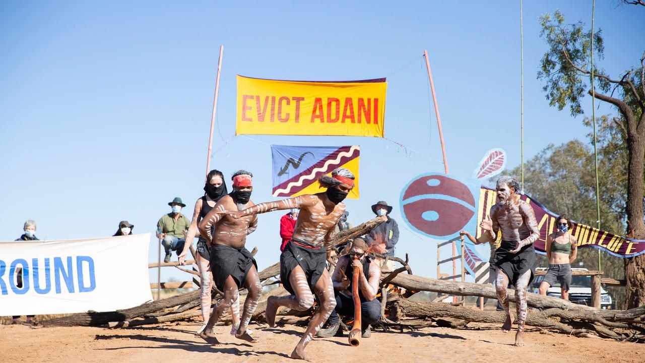 Wangan and Jagalingou tribal people block access to the Adani Carmichael Coal Mine on Monday, August 24, 2020.